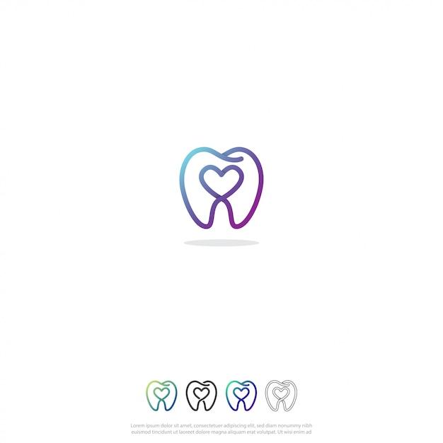 歯科愛のロゴ Premiumベクター