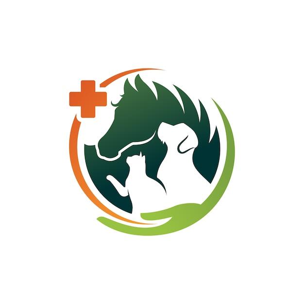 犬猫と馬のロゴのテンプレート獣医 Premiumベクター
