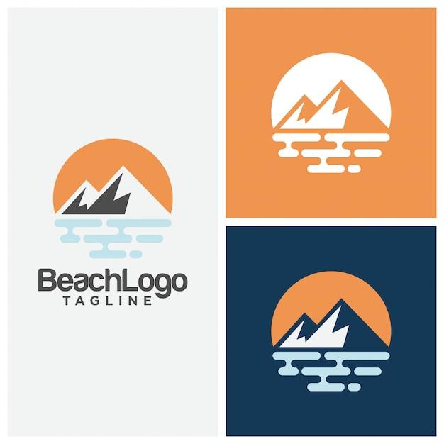 Пляжный логотип дизайн векторный шаблон Premium векторы