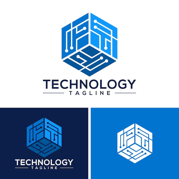 技術ロゴのテンプレートベクトル Premiumベクター