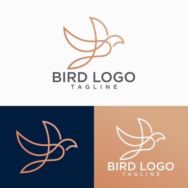鳥のロゴ抽象的な線画アウトラインデザインベクトルテンプレート Premiumベクター