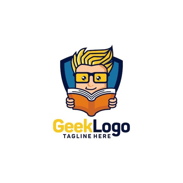 オタクのロゴデザインテンプレートベクトル Premiumベクター