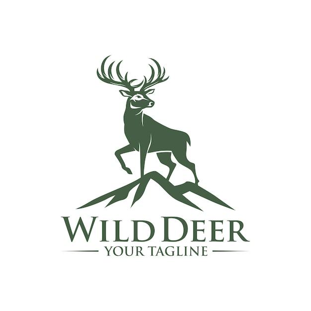 ロックのロゴデザインの鹿 Premiumベクター