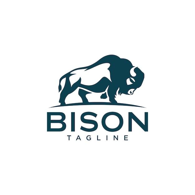 バイソンのロゴのテンプレート Premiumベクター