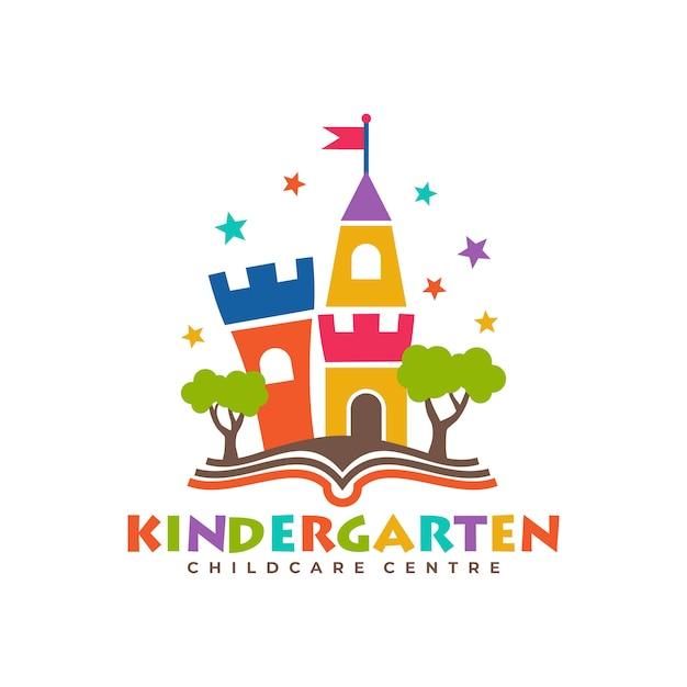 幼稚園のロゴのテンプレート Premiumベクター
