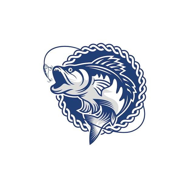 Старинное изображение логотипа рыбалки Premium векторы