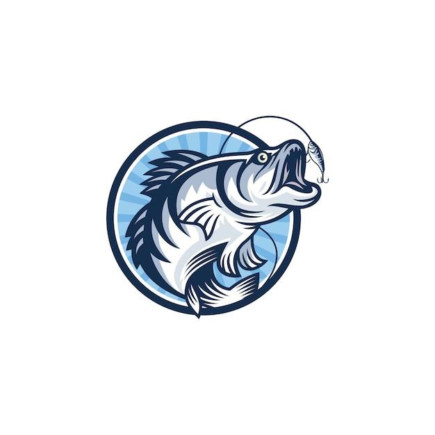 ビンテージ釣りロゴ画像 Premiumベクター