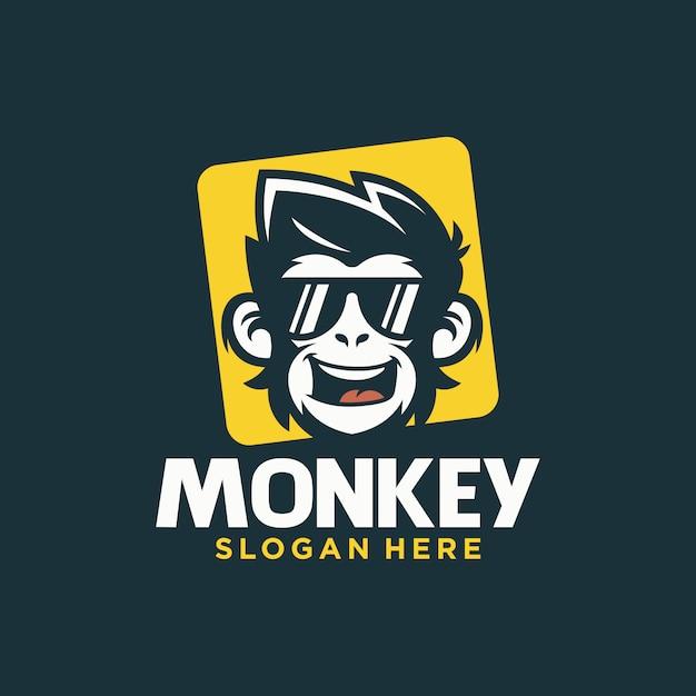 Крутой обезьяна логотип дизайн вектор иллюстратор Premium векторы
