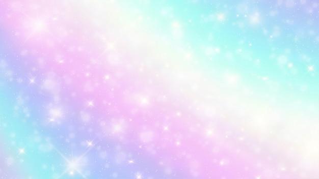 星とホログラフィックファンタジー背景のボケ味 Premiumベクター