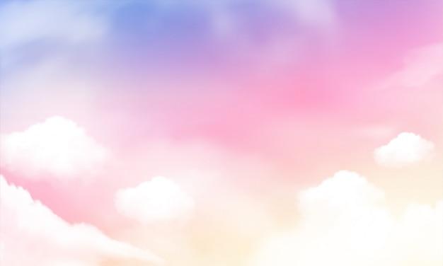 空の背景とパステルカラー。 Premiumベクター