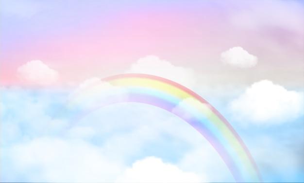 空の背景とパステルカラーの虹。 Premiumベクター