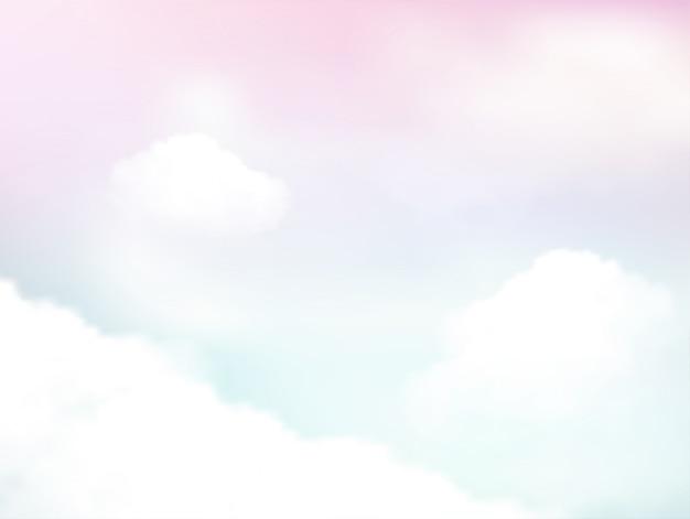 空と柔らかい雲の抽象的な背景のパステル Premiumベクター