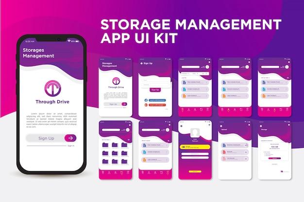 Шаблон современного пользовательского интерфейса приложения для элегантного фиолетового хранилища Premium векторы