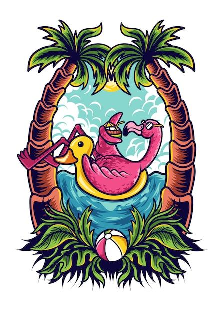 夏のフラミンゴの図 Premiumベクター
