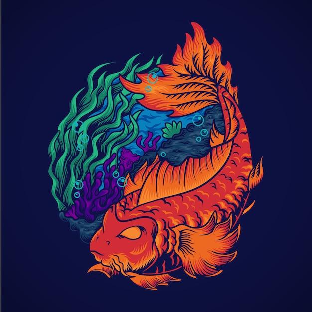 Иньян рыба иллюстрация Premium векторы