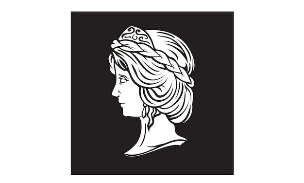 ギリシャの女神彫刻ロゴデザイン Premiumベクター