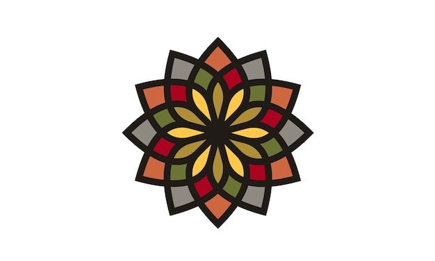 伝統的なカラフルな花柄のロゴデザイン Premiumベクター