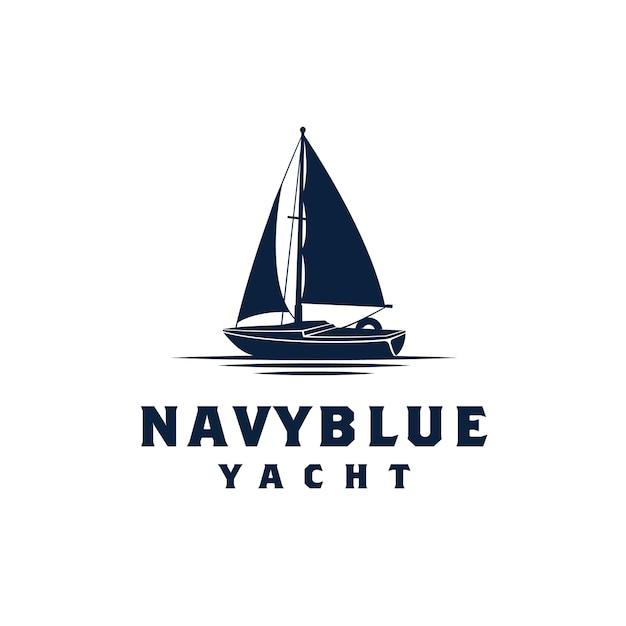 Простая парусная яхта силуэт логотип дизайн вдохновение Premium векторы