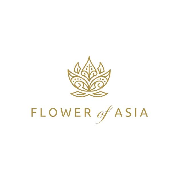 Золотой азиатский лотос цветок дизайн логотипа Premium векторы