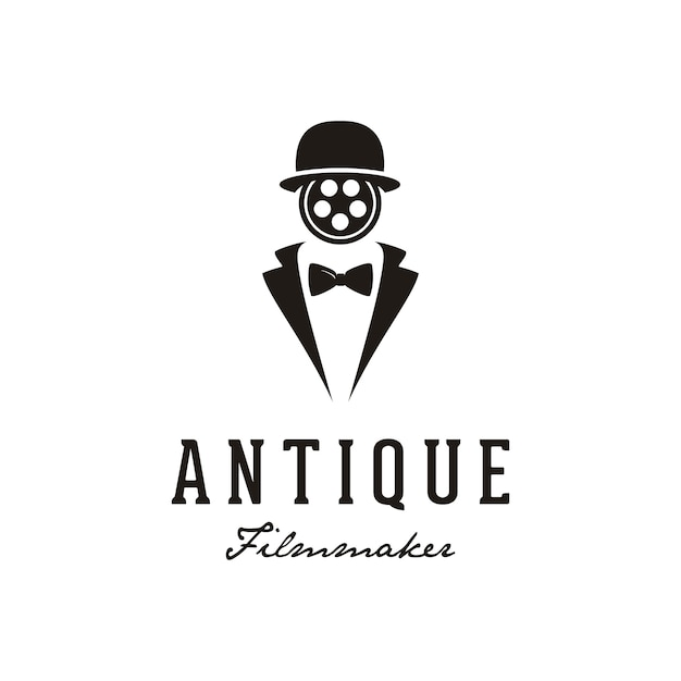 映画制作のロゴデザインのリールフィルム顔を持つ男。 Premiumベクター