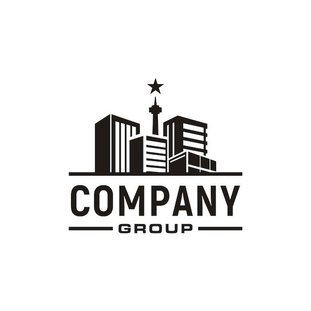 アパート、不動産、街並み、街のスカイラインのロゴデザイン Premiumベクター