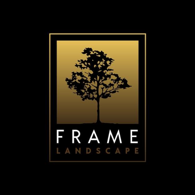 エレガントなゴールデンフレームロゴデザインの木のシルエット Premiumベクター