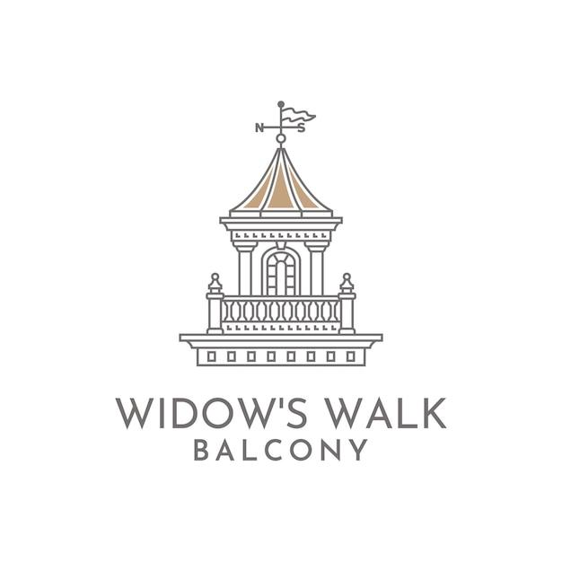 未亡人の散歩用バルコニーイラストロゴ Premiumベクター