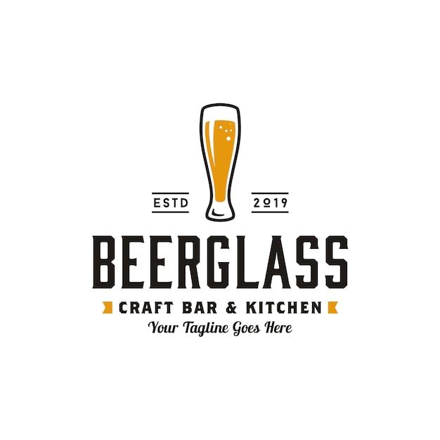 シンプルなレトロクラフトビールのロゴデザイン Premiumベクター