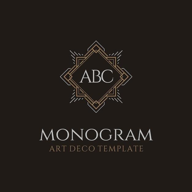高級ビンテージアールデコイニシャルモノグラムロゴ Premiumベクター