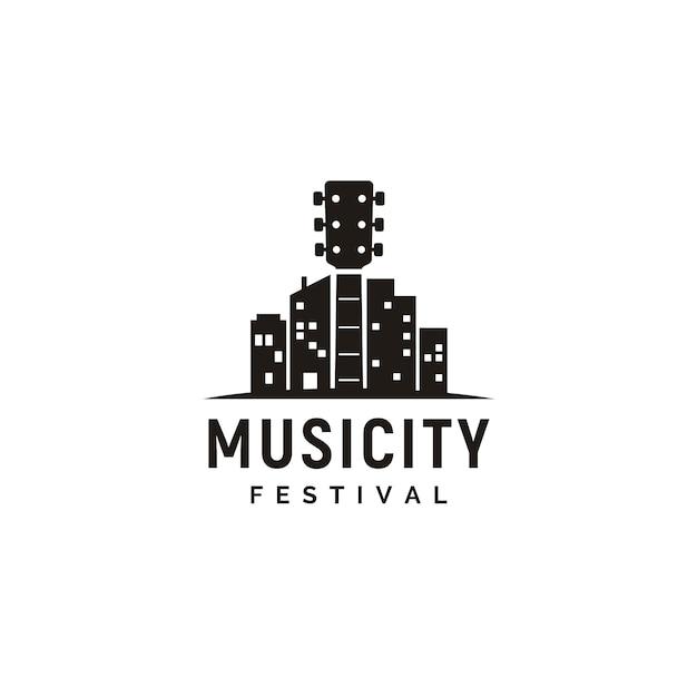 音楽と街のスカイラインのロゴ Premiumベクター