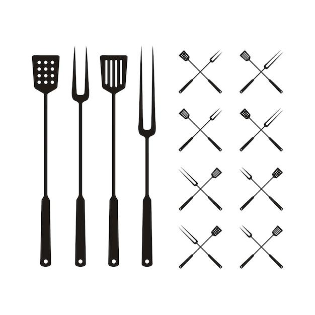 Лопатка и вилка для барбекю гриль, логотип барбекю Premium векторы