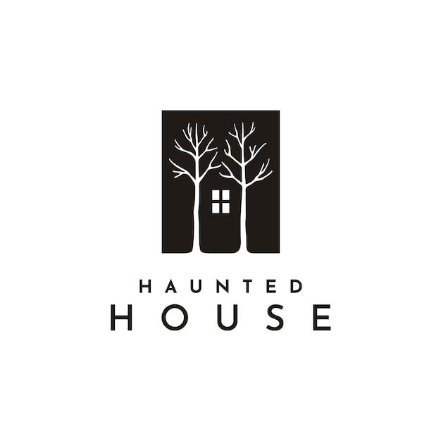 ダークハウスの窓と木のイラストロゴ Premiumベクター