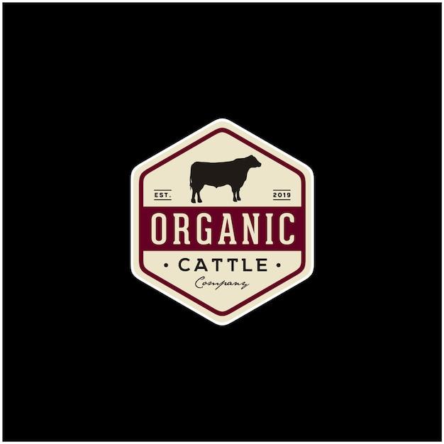 ビンテージ牛アンガス牛肉バッジ Premiumベクター