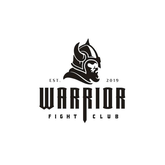 ビンテージレトロバイキングヘルメットヘッド顔戦士ロゴ Premiumベクター