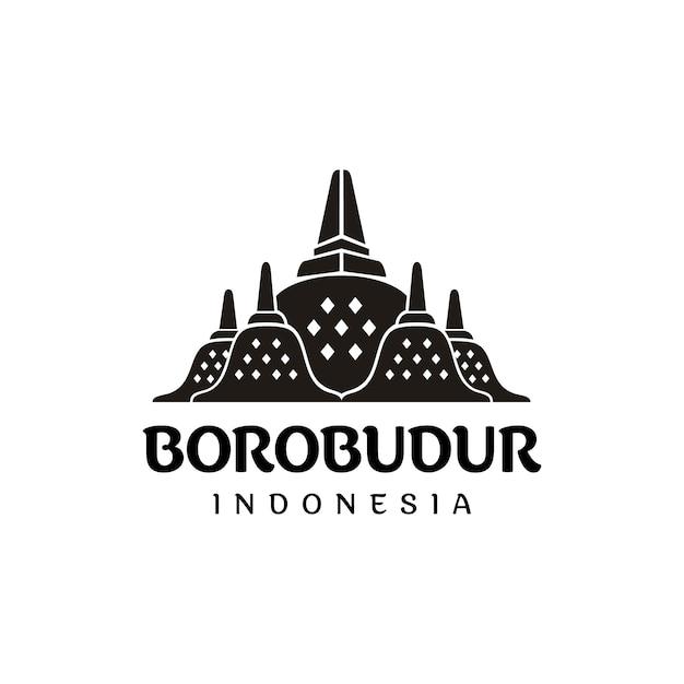 ボロブドゥール石寺のインドネシア遺産のシルエットのロゴ Premiumベクター