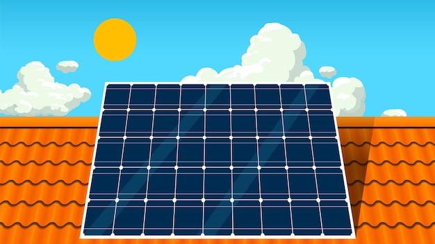屋根の上のソーラーパネル Premiumベクター