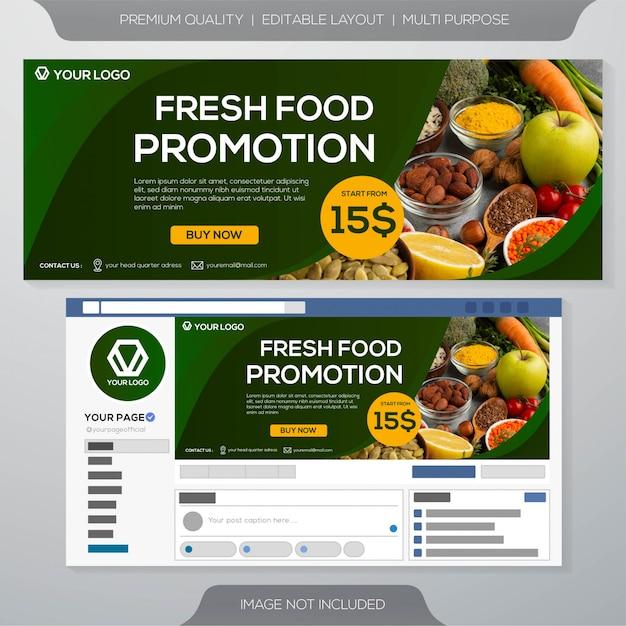 Шаблон кулинарного баннера свежих продуктов Premium векторы