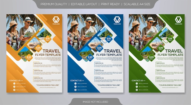 旅行チラシテンプレート Premiumベクター