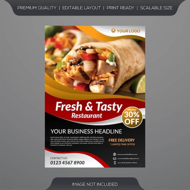 Шаблон флаера ресторана свежих продуктов Premium векторы