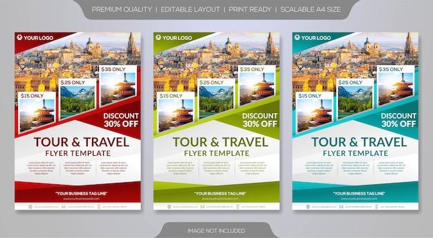 ツアーオペレーターまたは旅行代理店のチラシテンプレートのセット Premiumベクター