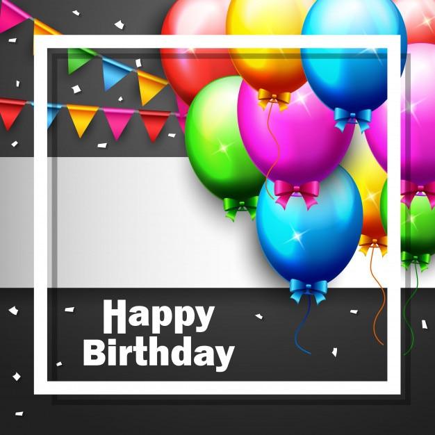 パーティーの誕生日のバルーンと紙吹雪 Premiumベクター