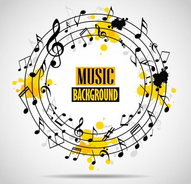 メモ付き抽象的な音楽の背景 Premiumベクター