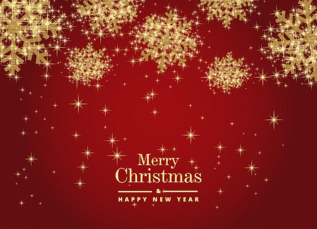 メリークリスマスと幸せな新年は美しい雪片で覆われています。ベクターテンプレートバックグラウンド Premiumベクター