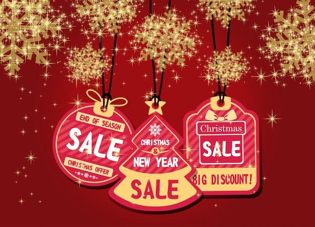 メリークリスマスと新年あけましておめでとうございます割引きれいなスノーフレークベクトルとプロモーション。 Premiumベクター