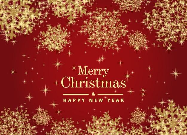 美しい雪のメリークリスマスと幸せな新年カード Premiumベクター