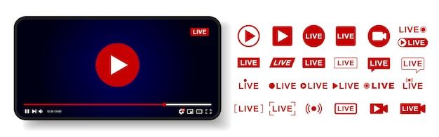ビデオプレーヤーテンプレートのデザイン。ライブストリームウィンドウ、プレーヤー。ソーシャルメディアの概念。 Premiumベクター
