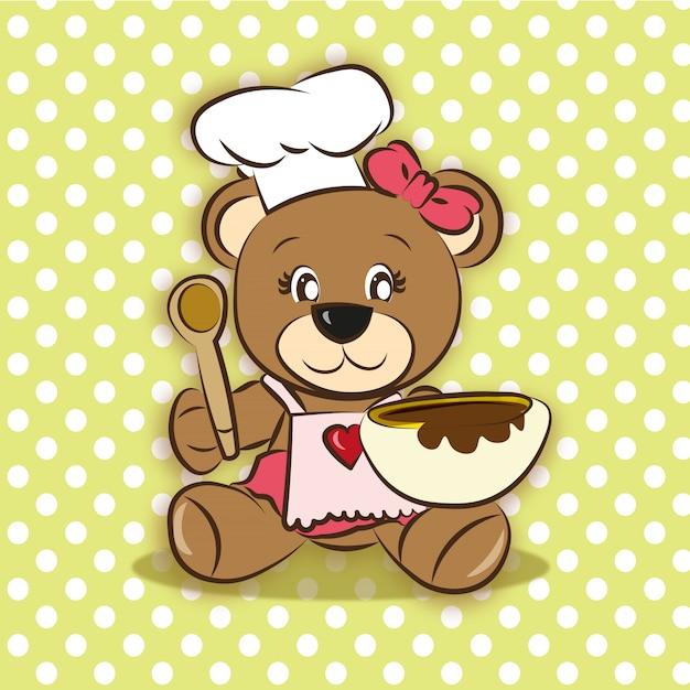 Милый медведь приготовления Premium векторы