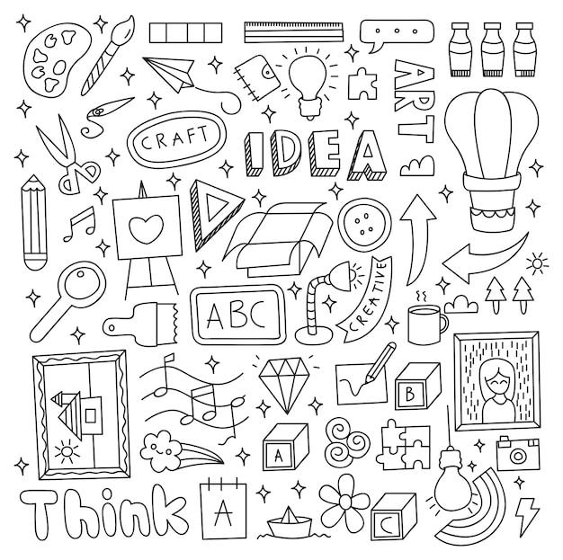 創造的なアイデアの落書きセットベクトルイラスト Premiumベクター