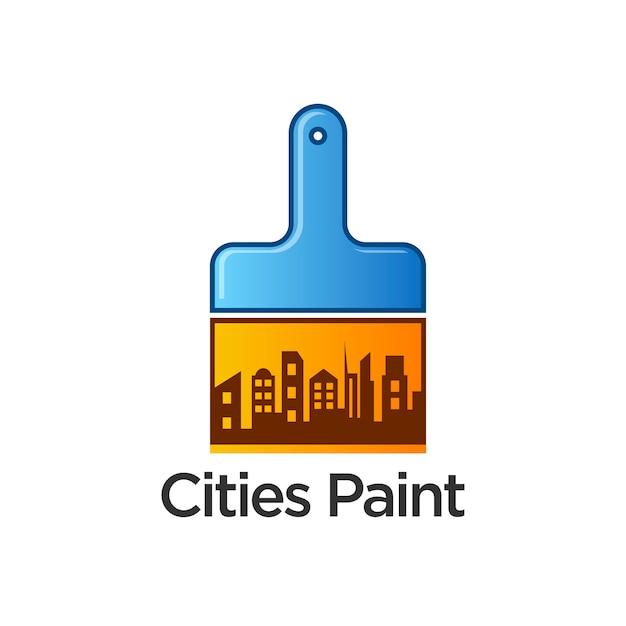 都市ペイントのロゴのテンプレートデザインのベクトル Premiumベクター