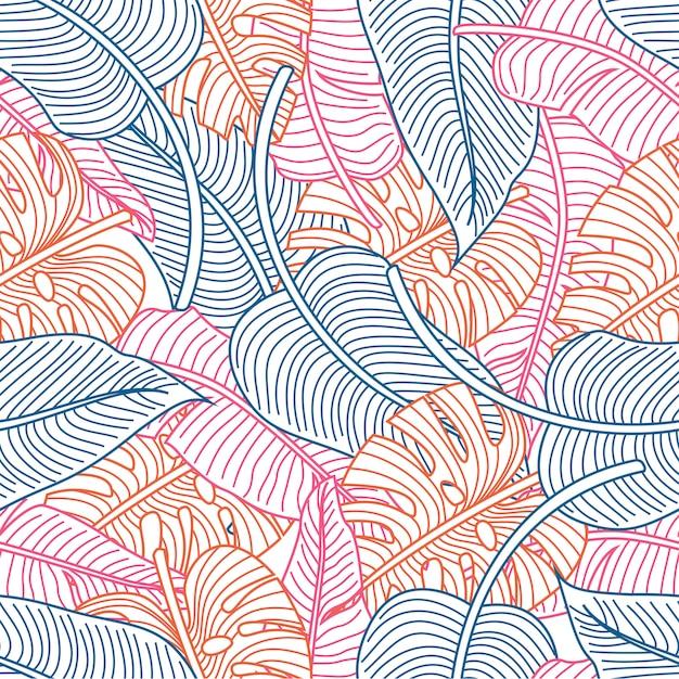 Тропические листья бесшовные модели Premium векторы